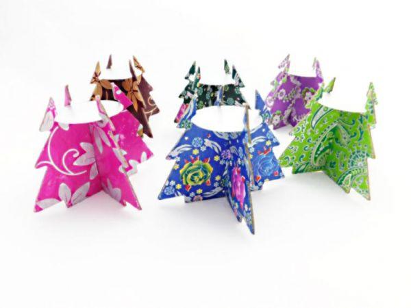 Baum-Teelichthalter pink und silber- aus buntem Papier - Fair Trade