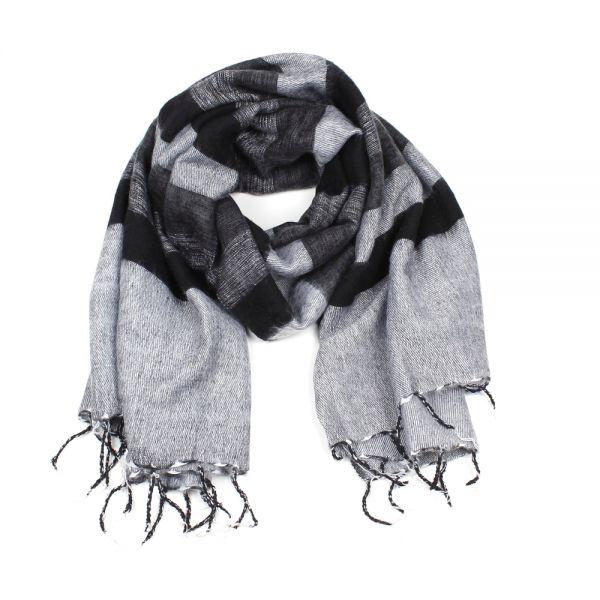 farblich passend stylistisches Aussehen 2019 echt Melange-Schal gestreift schwarz grau - Fair Trade