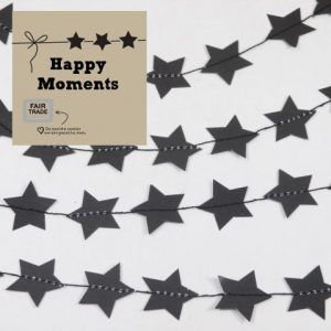 "schwarze Sterne-Girlande ""Happy Moments"" aus papier - Fair Trade"