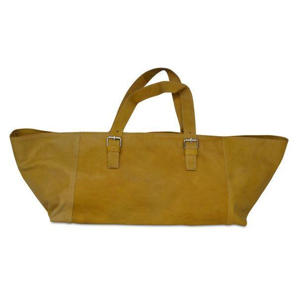 große Handtasche ocker senf gelb aus Leder - Fair Trade