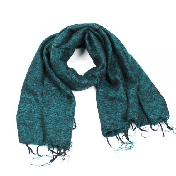 Exklusive Angebote populärer Stil hochwertiges Design Melange-Schal petrol schwarz - Fair Trade