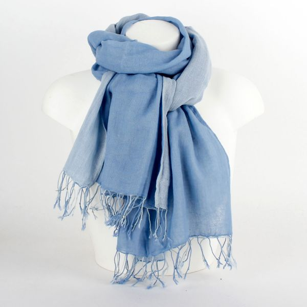 Tuch Schlauchschal Loop aus Baumwolle (2-farbig) blau - Fairtrade