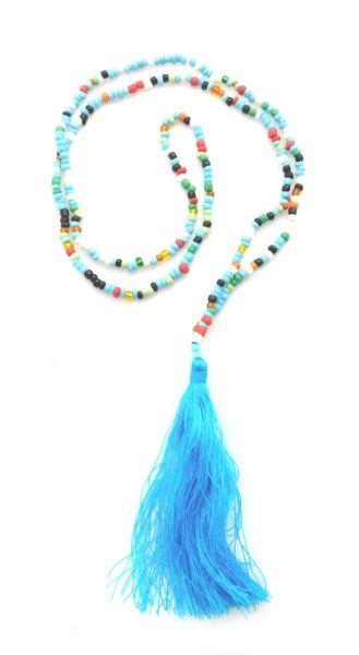 bunte Halskette aus Glasperlen mit blauer Quaste - Fair Trade