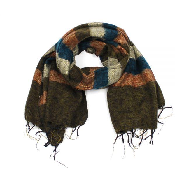 Melange-Schal gestreift grün-braun Fair Trade