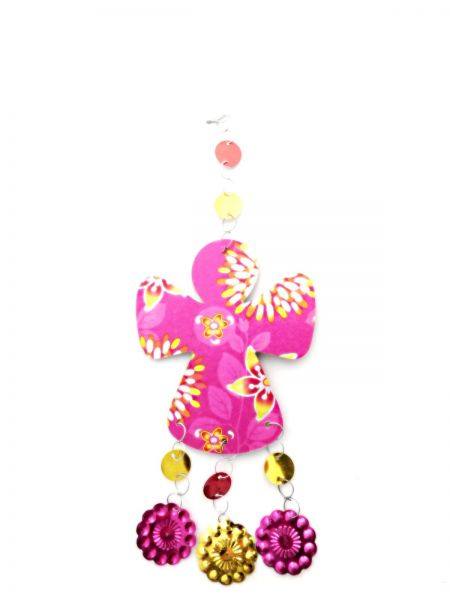 Engel-Hänger aus buntem Papier pink - Fair Trade