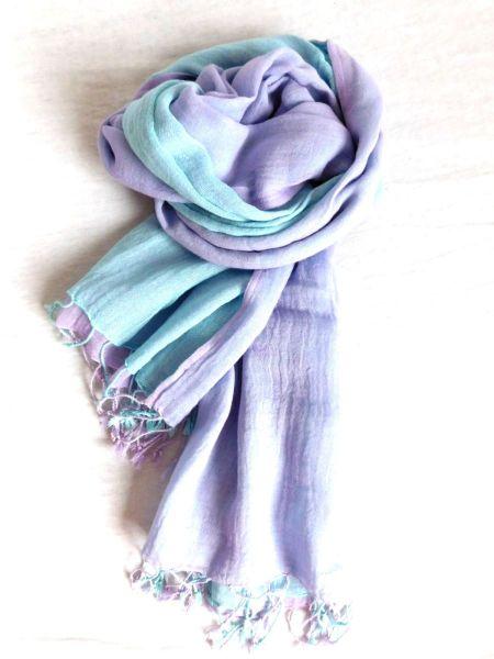Tuch Schlauchschal Loop aus Baumwolle (2-farbig) türkis lila - Fairtrade